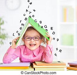 brieven, boeiend, dak, boek, smart, onder, het glimlachen, bril, het vallen, toevlucht, geitje