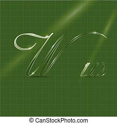 brieven, cursief, glazig