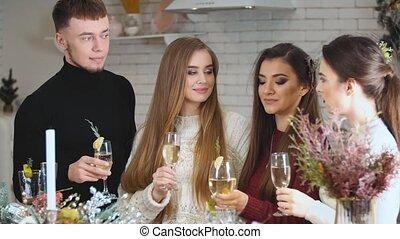 bril, champagne, jongeren, groep
