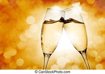 bril, twee, champagne, elegant
