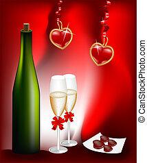 bril, twee, fles, wijntje