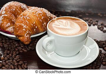 brioches, e, cappuccino