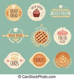 brood, set, ouderwetse , etiketten, illustratie, bakkerij