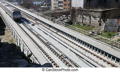 brug, 13, trein, metro station