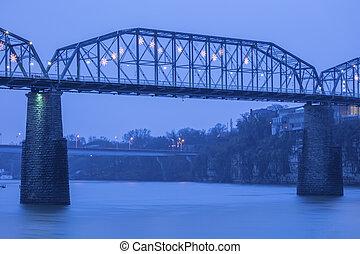 brug, chattanooga, okkernoot, straat