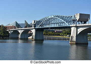 brug, chattanooga, straat markt