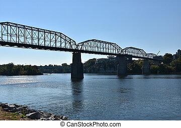 brug, chattanooga, straat, okkernoot