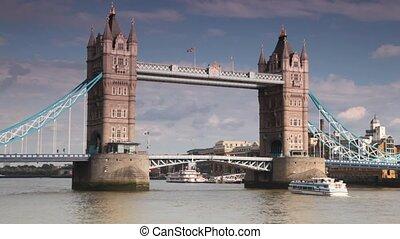 brug, groot, gaan, langzaam, onder, toren, excursie, scheepje