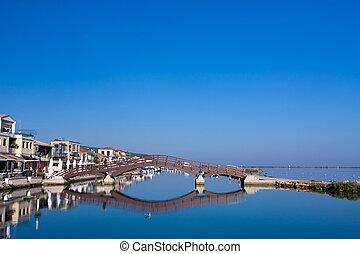 brug, lefkas, ionian, eiland