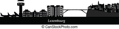 brug, luchthaven, skyline, luxembourg