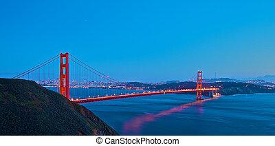 brug, ondergaande zon , poort, gouden