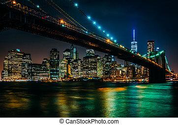 brug, skyline, bro, brooklyn, nacht, gezien, manhattan