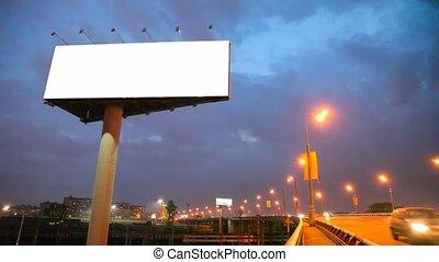 brug, stad, auto's, verhuizing, nacht, buitenreclame, lege