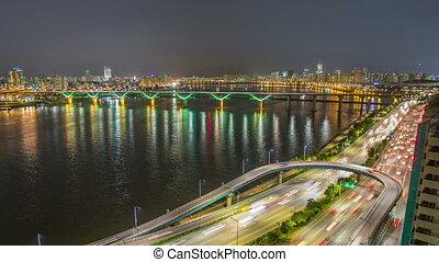 brug, stad, seoul, traff, snelweg