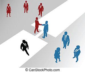 brug, toevoegen, zakelijk, fusie, bedrijf, teams, 2
