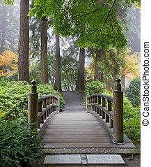 brug, tuin, houten, japanner, morgen, voet, nevelig