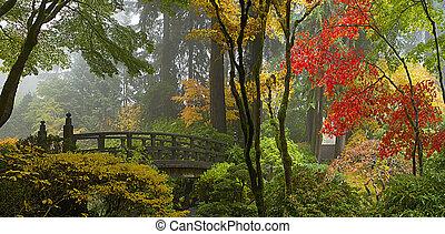 brug, tuin, houten, panorama, japanner, herfst