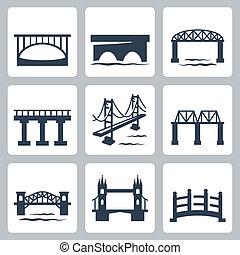 bruggen, vector, set, vrijstaand, iconen