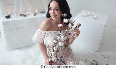bruid, glimlachen gelukkig, achtergrond, kaarsjes