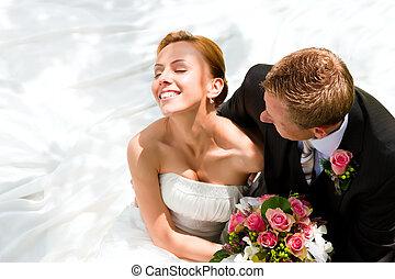 bruid, paar, bruidegom, -, trouwfeest