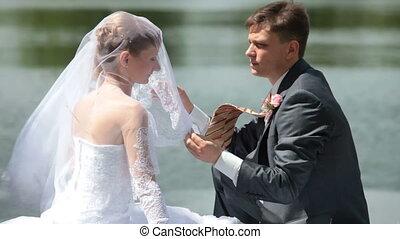 bruidegom, sluier, liften