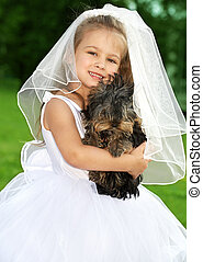 bruidsmeisje, schattig, weinig; niet zo(veel), dog