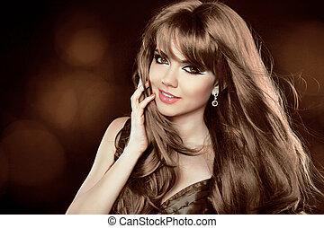 bruine , hairstyle., krullend, lang, meisje, aantrekkelijk, hair., woman., glimlachen gelukkig