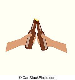bruine , handen, illustratie, beer, fles