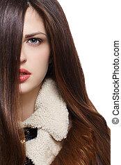 bruine , haren, vrouw, lang