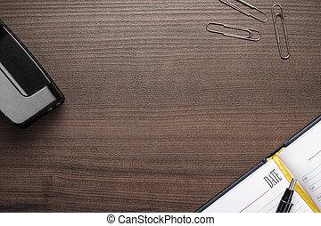 bruine , kantoor, houten, enig, voorwerpen, tafel