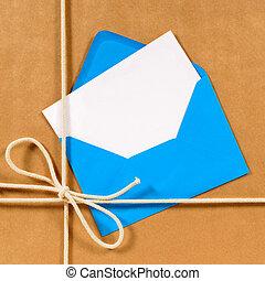 bruine , pakket, blauwe , papier, enveloppe