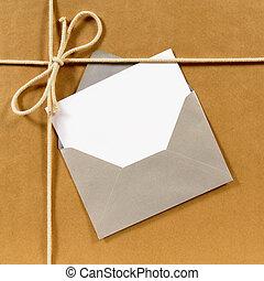 bruine , pakket, papier, zilver, enveloppe