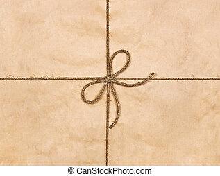 bruine , touwtje, gebonden, boog, gerecyclde, papier