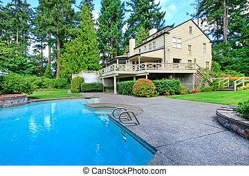 bruine , tuin, zomer huis, groot, buitenkant, pool, zwemmen