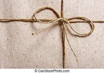 bruine , twijn, pakket, gebonden, papier, verpakte