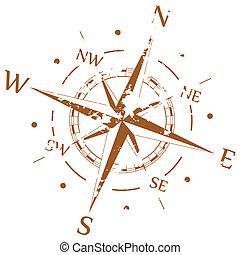 bruine , vector, grunge, kompas