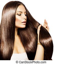 bruine , vrouw, beauty, haar, gezonde , langharige, aandoenlijk