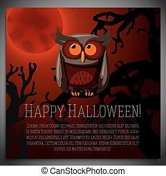 bruine , zittende , boompje, halloween, illustratie, spandoek, vector, griezelig, groot, branch., uil