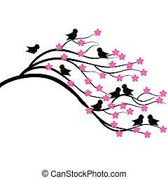 brunch, boompje, vogels