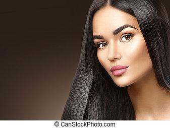brunette, beauty, jonge, gezicht, vrouw, closeup, verticaal, meisje, mode