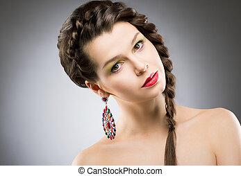 brunette, earring., kleurrijke, juwelen, bijouterie, -, helder, verticaal, ronde, het glanzen
