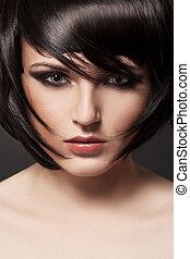 brunette, girl., hair., hairstyle., gezonde , mooi