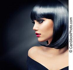 brunette haren, girl., black , gezonde , mooi