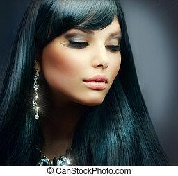 brunette haren, girl., makeup, vakantie, gezonde , lang, mooi