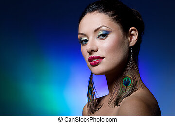 brunette, jonge, makeup, creatief