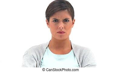 brunette, staande vrouw, overeind