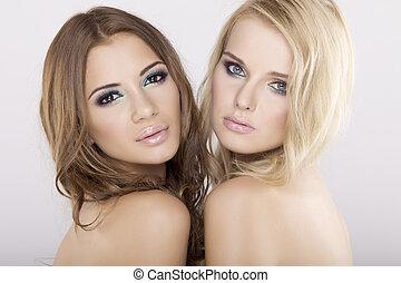 brunette, vriendinnetjes, -, twee, blonde