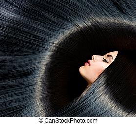 brunette, vrouw, beauty, black , hair., gezonde , lang