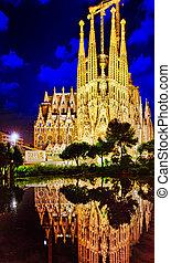 buiten, aanzicht, familia, majestueus, mooi, sagrada, barcelona.
