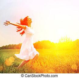 buiten, enjoyment., nature., kosteloos, vrouw meisje, het genieten van, vrolijke